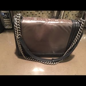 CHANEL Bags - Chanel large boy bag brown with black trim